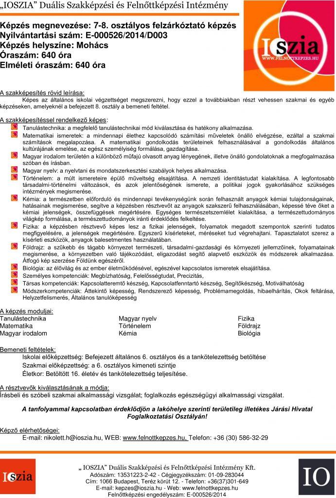 7-8. osztályos felzárkóztató - Mohács - felnottkepzes.hu - Felnőttképzés - IOSZIA