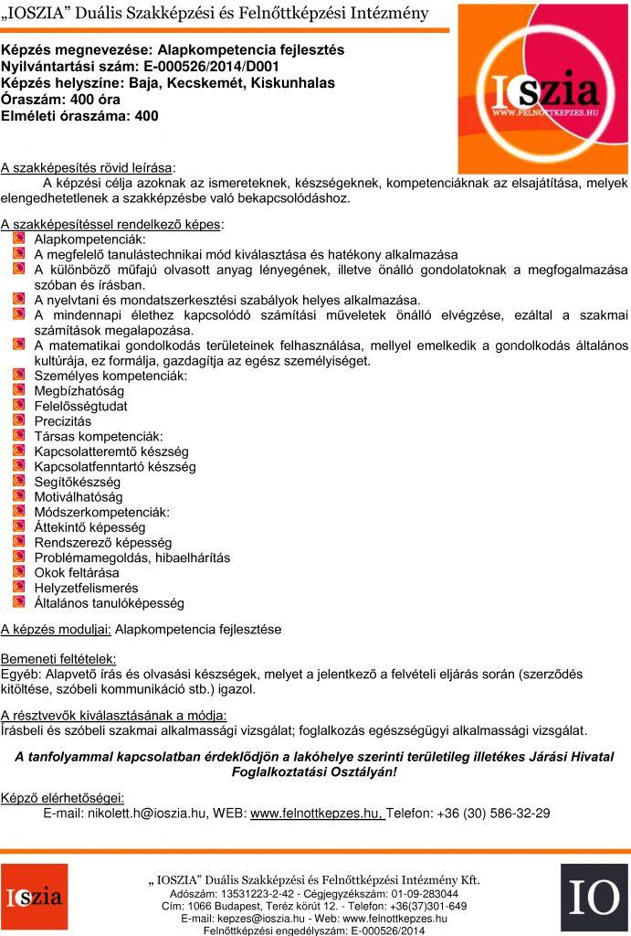 Alapkompetencia fejlesztés - Baja - Kecskemét - Kiskunhalas - felnottkepzes.hu - Felnőttképzés - IOSZIA
