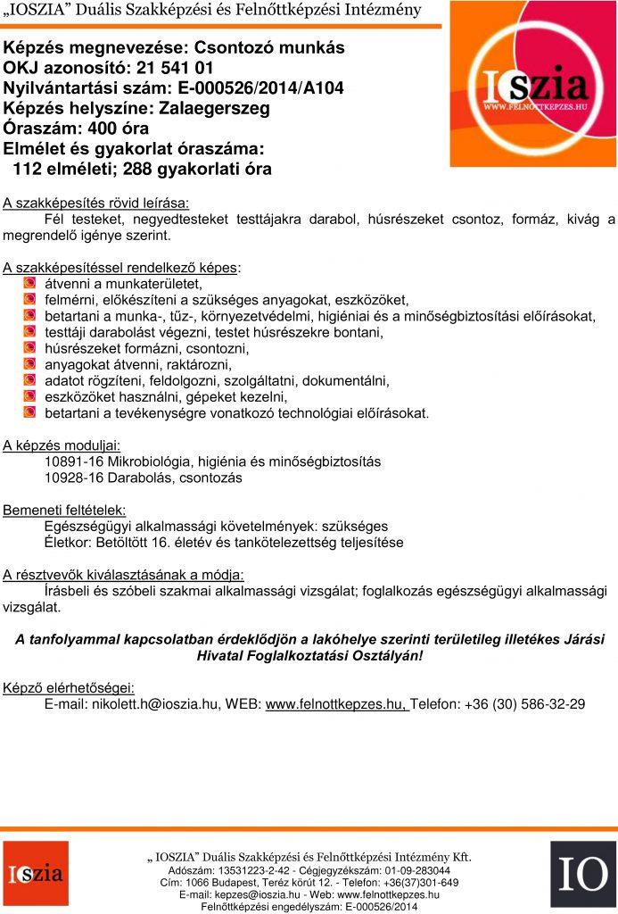 Csontozó munkás - Zalaegerszeg - felnottkepzes.hu - Felnőttképzés - IOSZIA