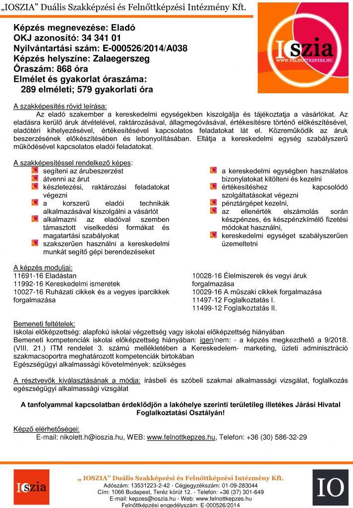 Eladó OKJ - Zalaegerszeg - felnottkepzes.hu - Felnőttképzés - IOSZIA
