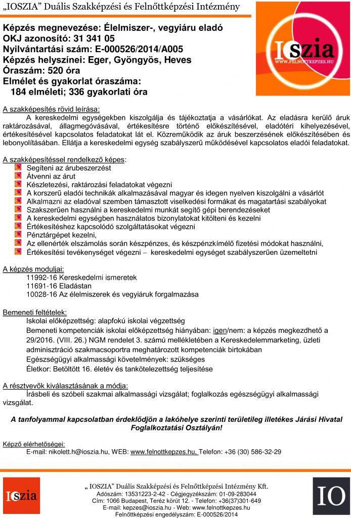 Élelmiszer- vegyi áru eladó OKJ - Eger - Gyöngyös - Heves - felnottkepzes.hu - Felnőttképzés - IOSZIA