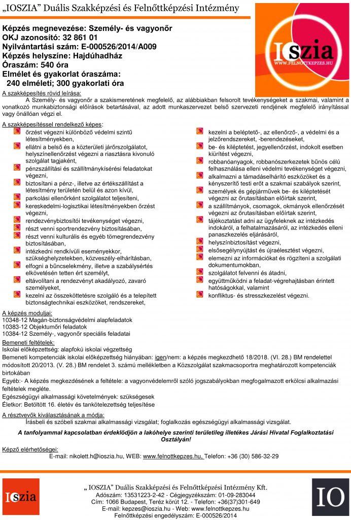 Személy és vagyonőr OKJ - Hajdúhadház - Hajdúhadház - Felnőttképzés - felnottkepzes.hu - IOSZIA