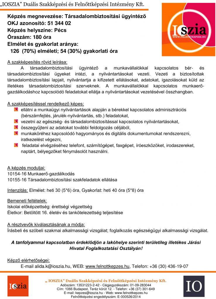 Társadalombiztosítási ügyintéző - Pécs -  IOSZIA felnottkepzes.hu